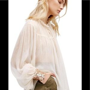 Free People Sheer Petal Blouse